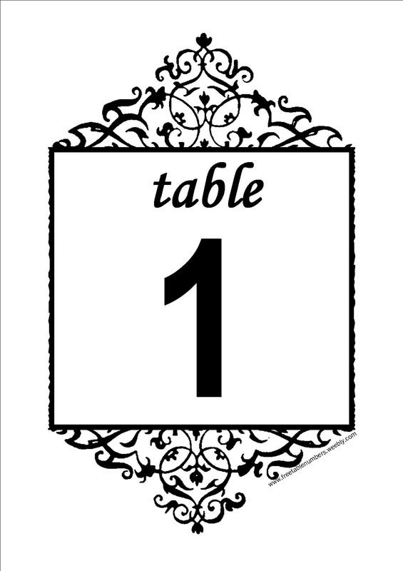 Free Antique printable DIY Wedding Table Numbers - Free Table Numbers - numbers templates free