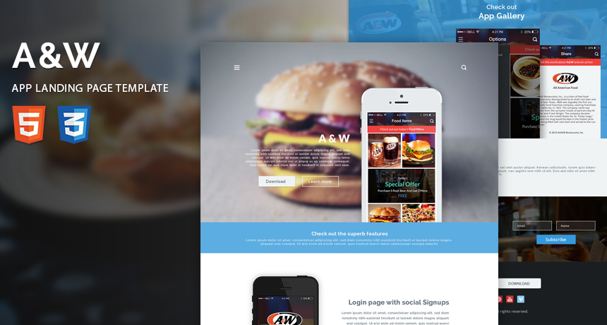 AW App Landing Page HTML Template Free HTML5 Templates - app landing page template