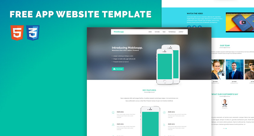 Free App Website Bootstrap HTML5 Template Free HTML5 Templates - Free App Template