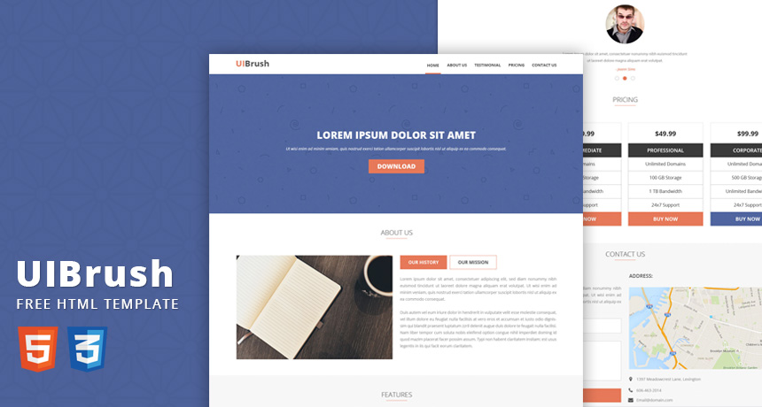 UIBrush Free Landing Page HTML Template Free HTML5 Templates