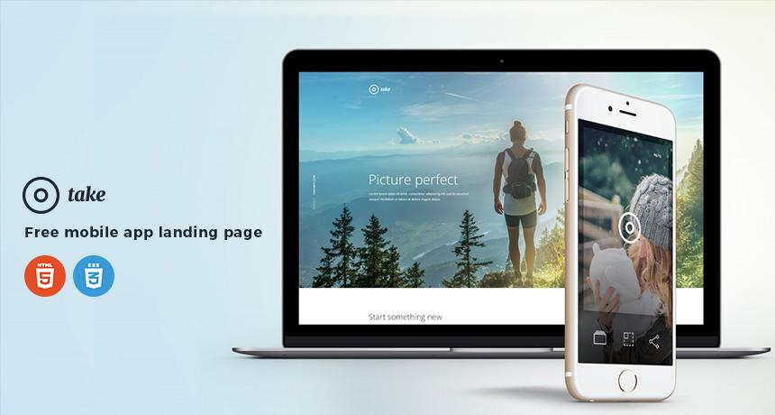 Take - Free Mobile App Landing Page HTML Template Free HTML5 Templates - Free App Template