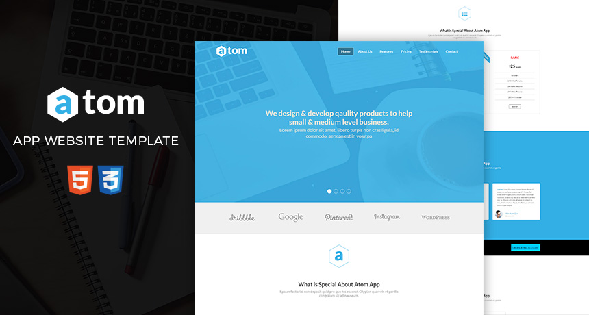 Atom - Free HTML Template for Applications Free HTML5 Templates