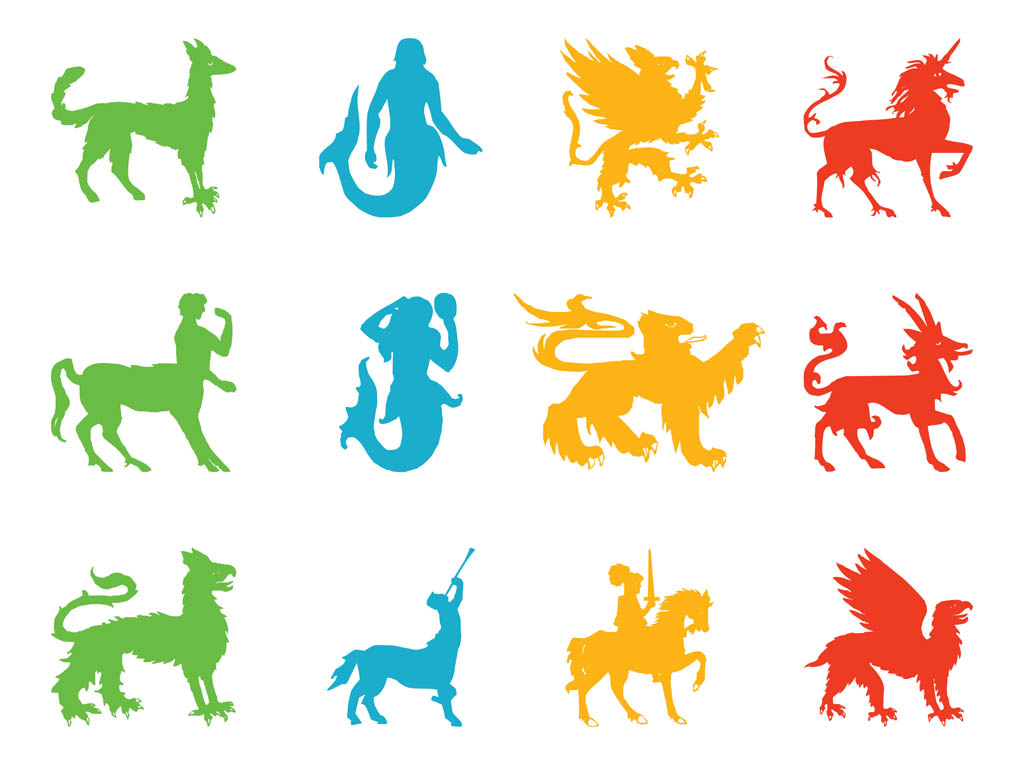 When Was Calendar Created Mythological Creatures Shijin Shishin Four Legendary Chinese Creatures Mythological And Heraldic Creatures Vector Art And Graphics