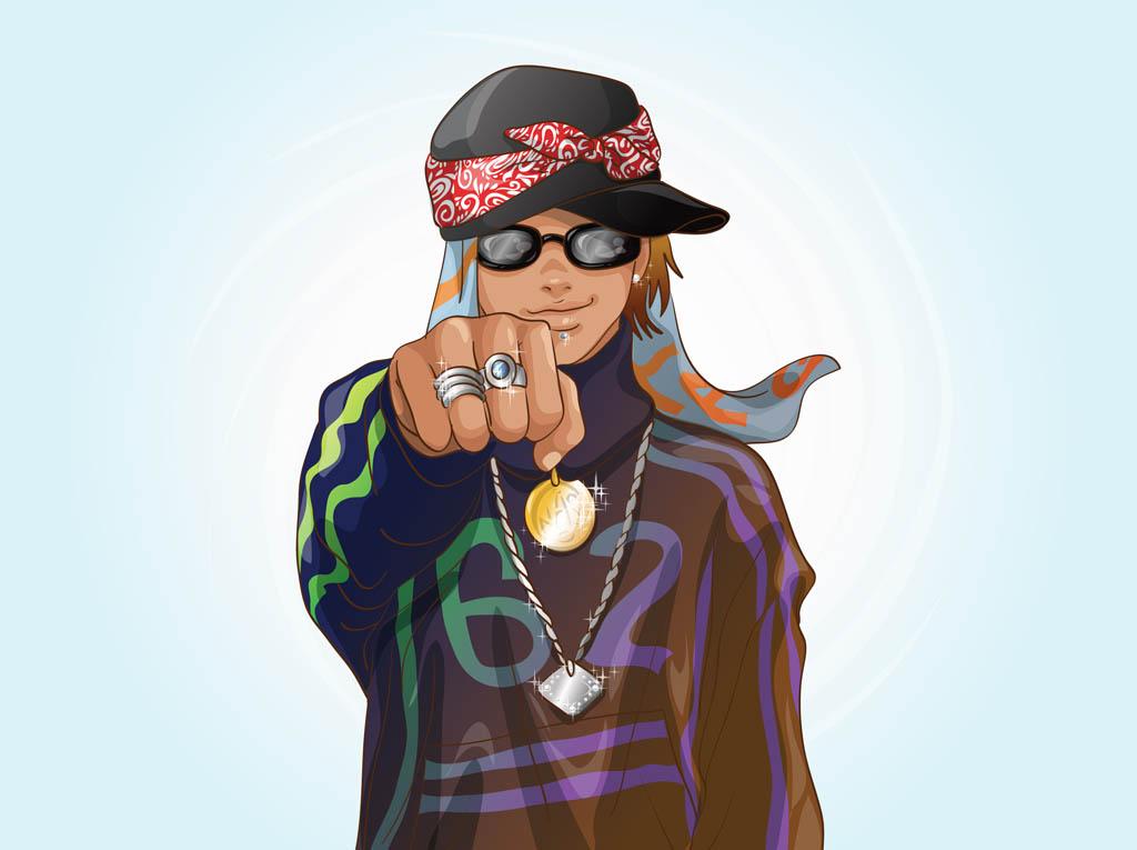 Pink Girl Cartoon Wallpaper Rapper Vector Art Amp Graphics Freevector Com