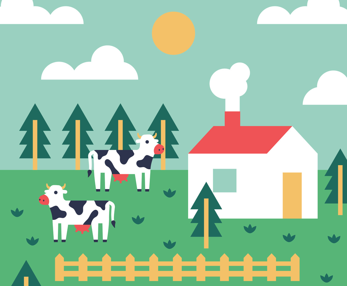 Red Farmhouse Drawing Colorful Farm Vector Background Vector Art And Graphics