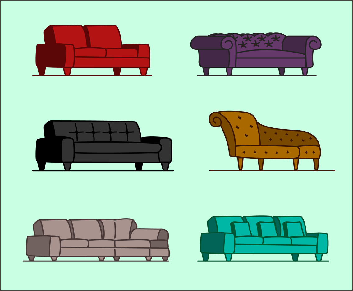 Sofa Set Vector Png Free Couch Vector Vector Art Graphics Freevector