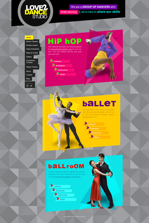Dance Studio Web Template Free Website Templates
