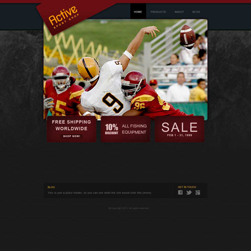 Sporting Goods Web Template Free Website Templates