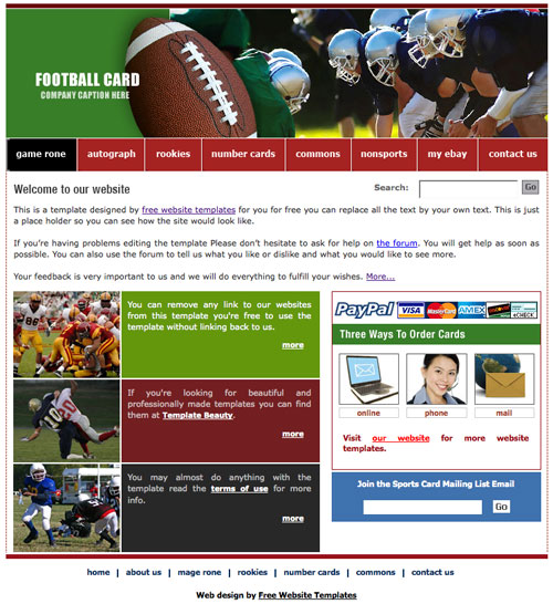 Football template designed by Free Website Templates