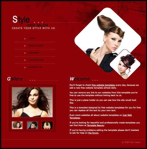 Hair salon template Free Website Templates