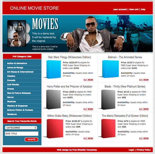 Online movie store template Free Website Templates