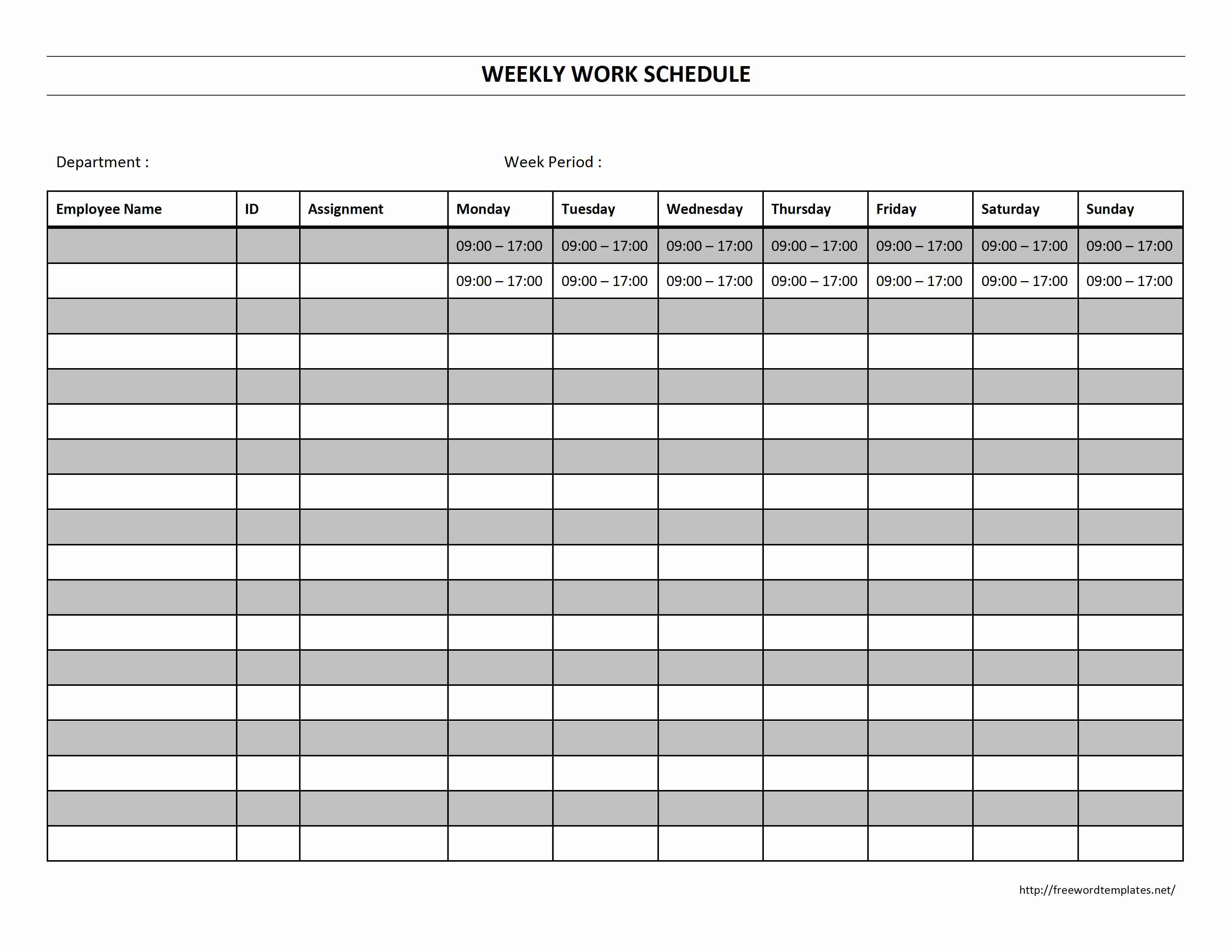 work assignment schedule template resume samples writing work assignment schedule template printable work schedule templates excel template excel different working hour every week