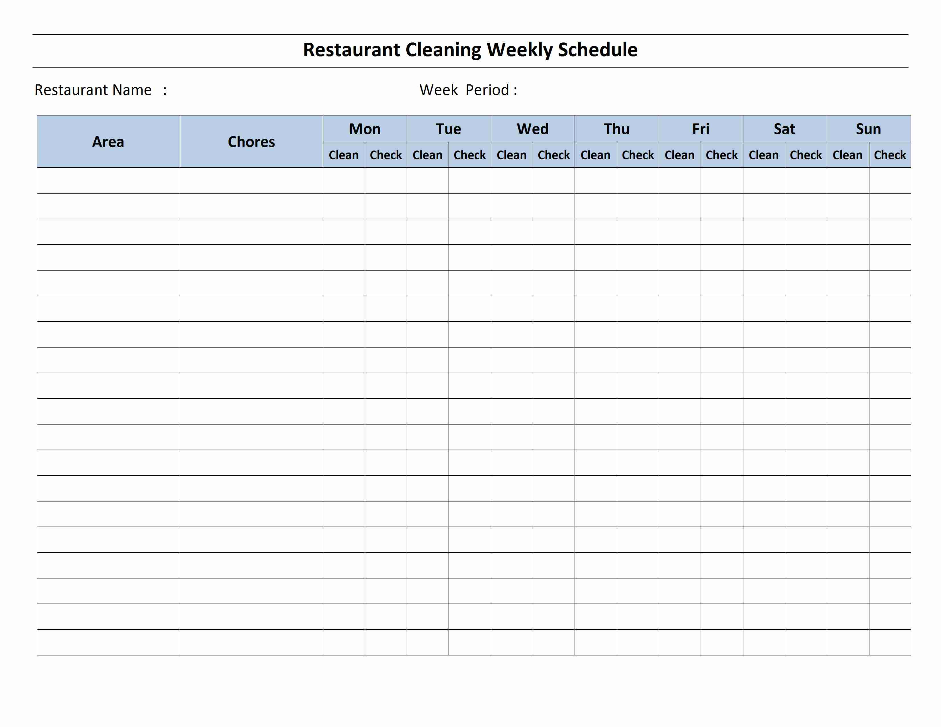 toilet cleaning schedule template free
