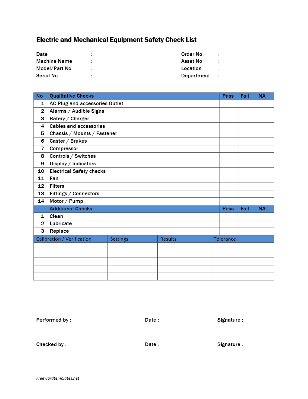 Daily Checklist Template Microsoft Word – Daily Checklist Template Word