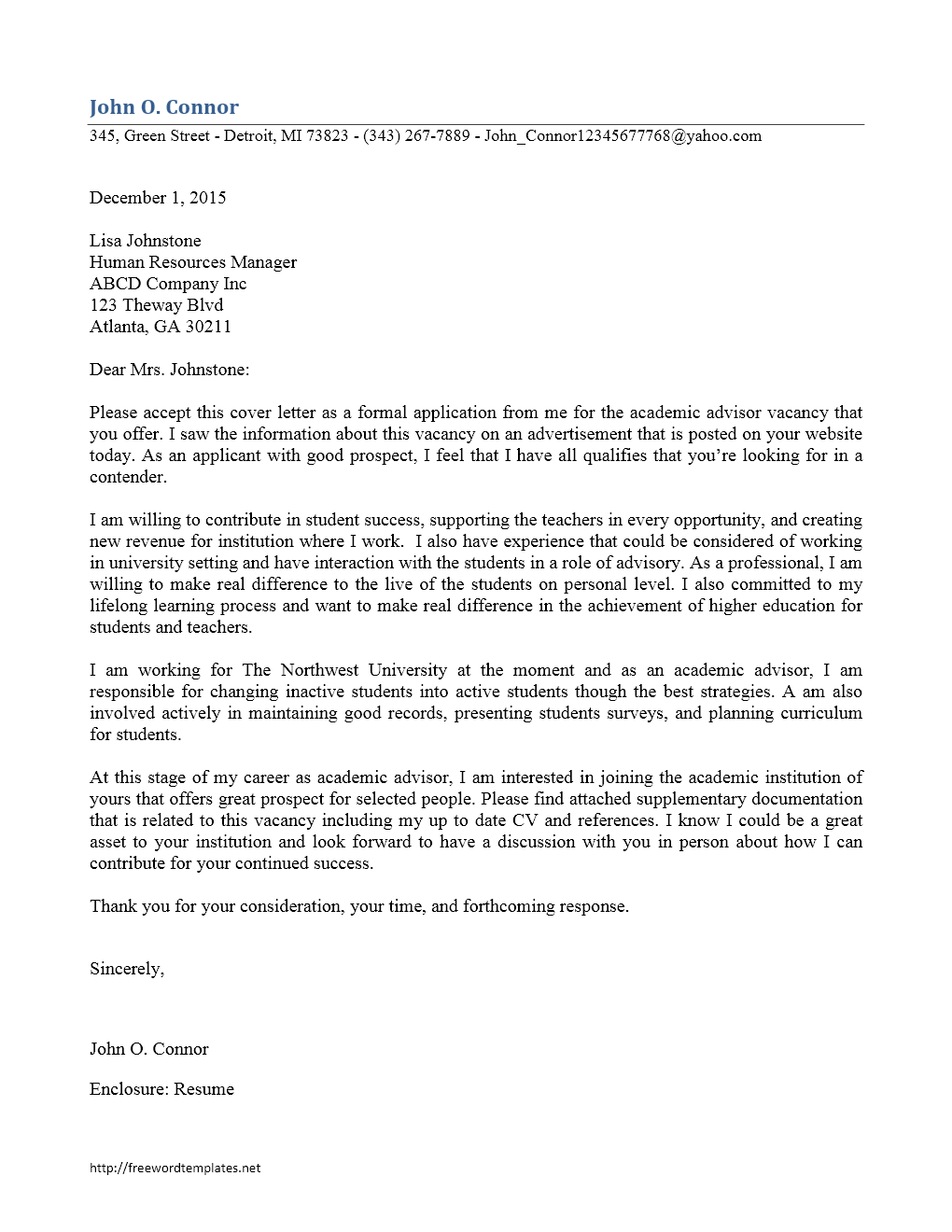 College admissions recruiter cover letter