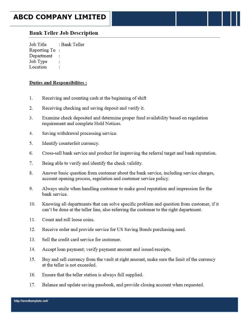 bank cashier job description for resume