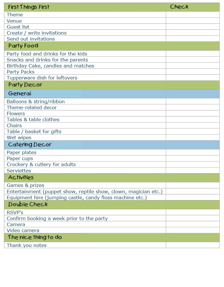 Party Planning Template Birthday Party Planner Form- Helps Kids - birthday planner template