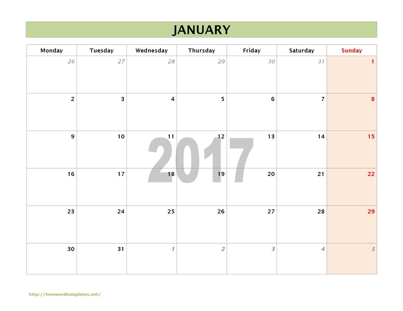 linear calendar template