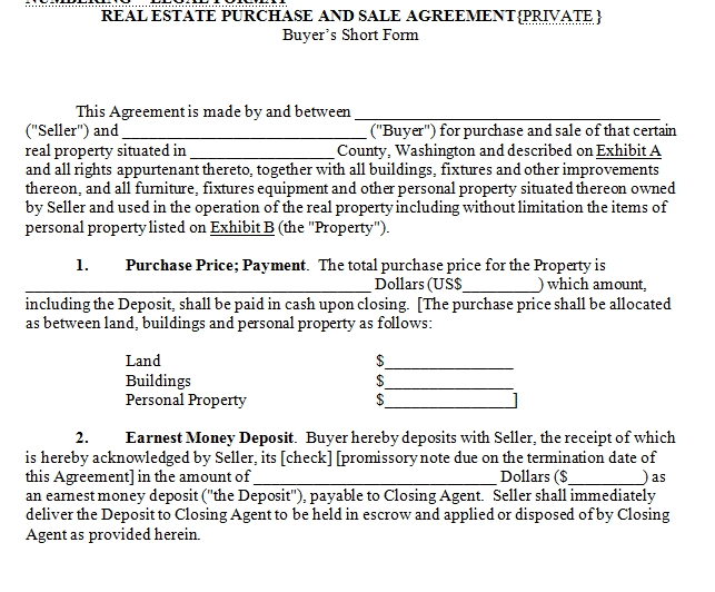 House for Sale Contract - house sales contract