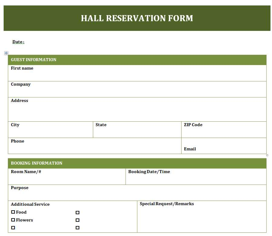 reservation forms templates - Ozilalmanoof - how to create a form template in word