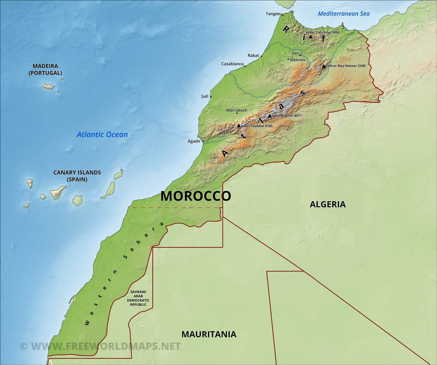 Les Meridiennes Maroc Morocco Physical Map