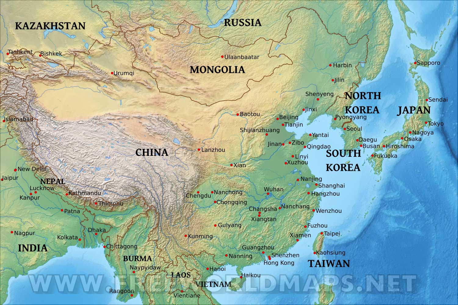 Chinese Geography East Asia Physical Map