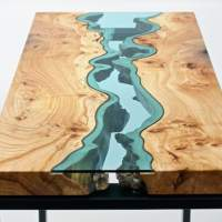 """The River Collection"" – Wood Furniture Embedded with Glass Rivers and Lakes by Greg Klassen"