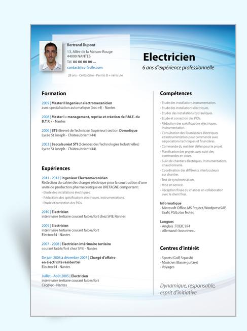 cv electromecanicien gratuit