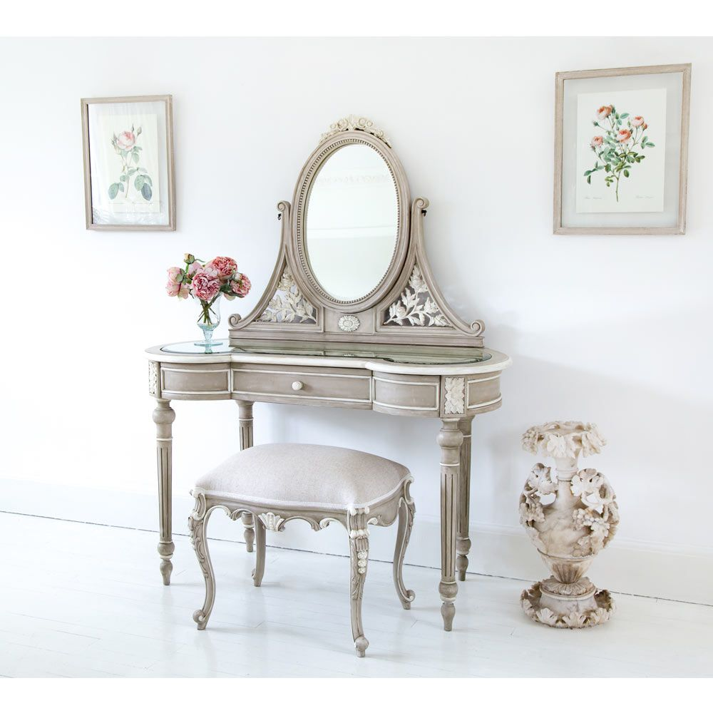 Amour French Dressing Table Fawn Grey Vanity Table Fbc