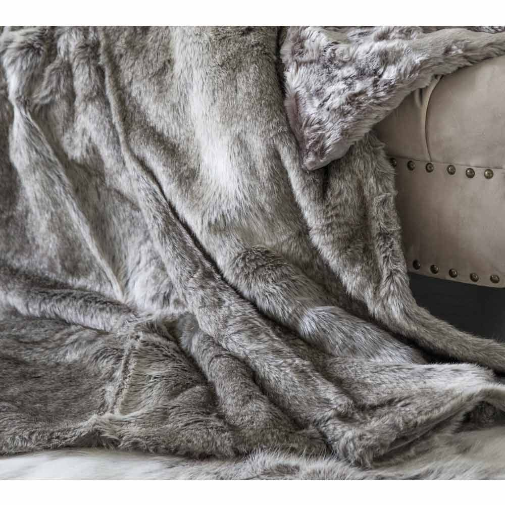 Husky Brown Faux Fur Throw Brown And Pale Grey Winter Blanket