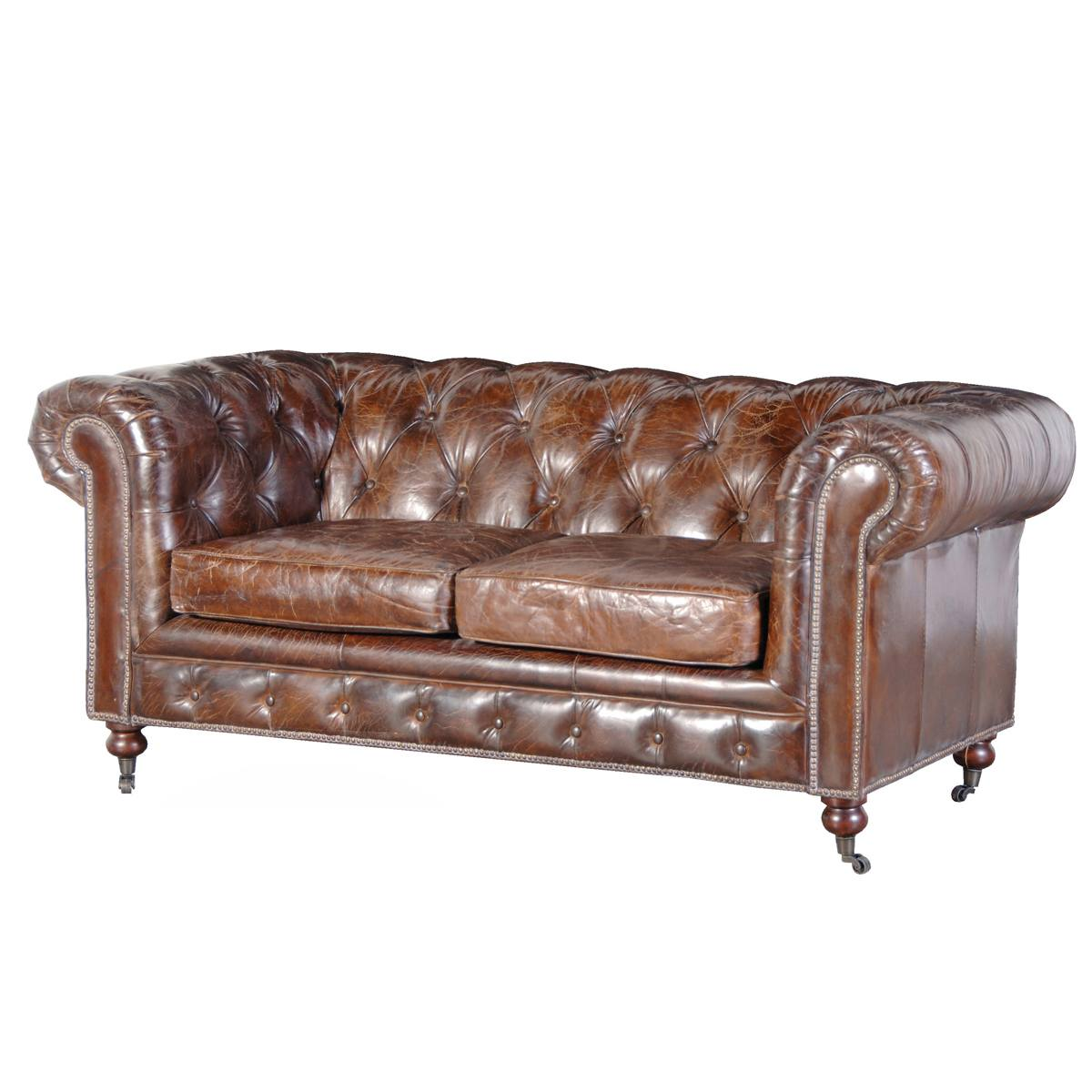 Chesterfield Sofa Cherished Chesterfield Vintage Brown Leather Sofa, French