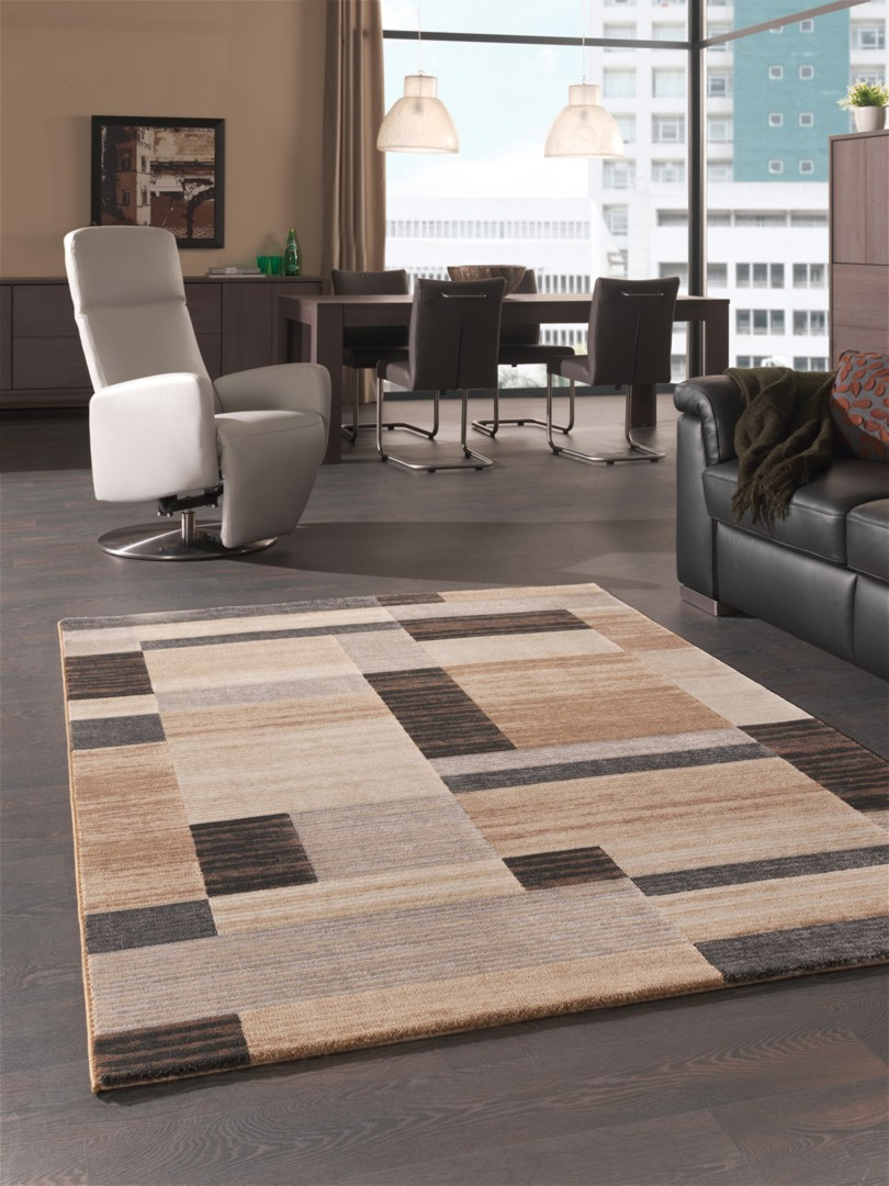 Tapis Salon Marron Beige Enredada