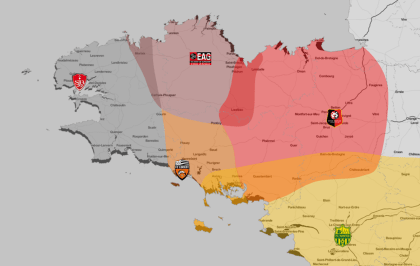 Zones of Influence of Brittany's five leading football clubs (Design by @matamix)
