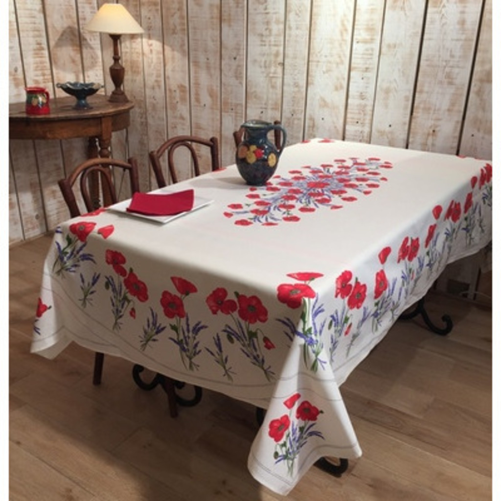 Nappe Tissu Enduit Frenchictoyou Le Tissu Provencal Nappe Coquelicot Blanche