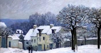 Alfred Sisley, La Place du Chenil à Marly, effet de neige (1876)
