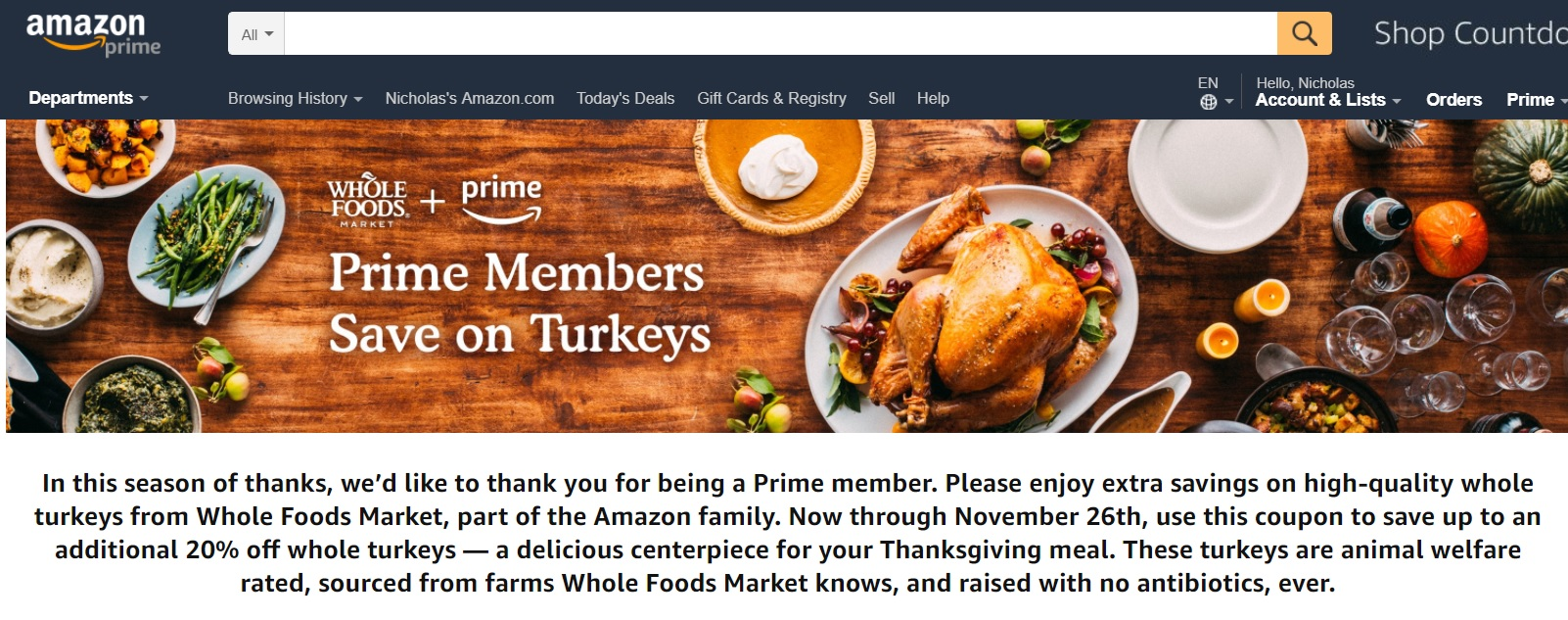 Amazon Turkey Expired Stack Chase Offer Prime Discount On Turkey At Whole Foods