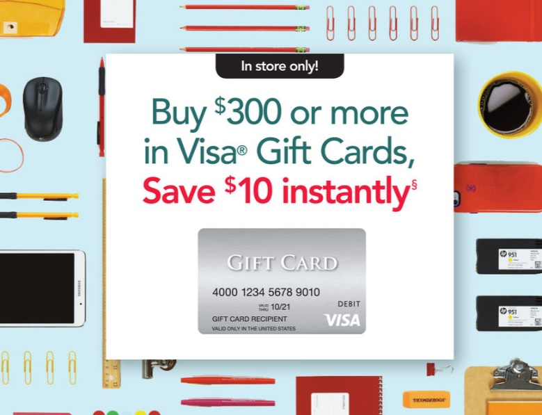 EXPIRED) Get $10 Off $300+ Visa Gift Cards At Office Depot