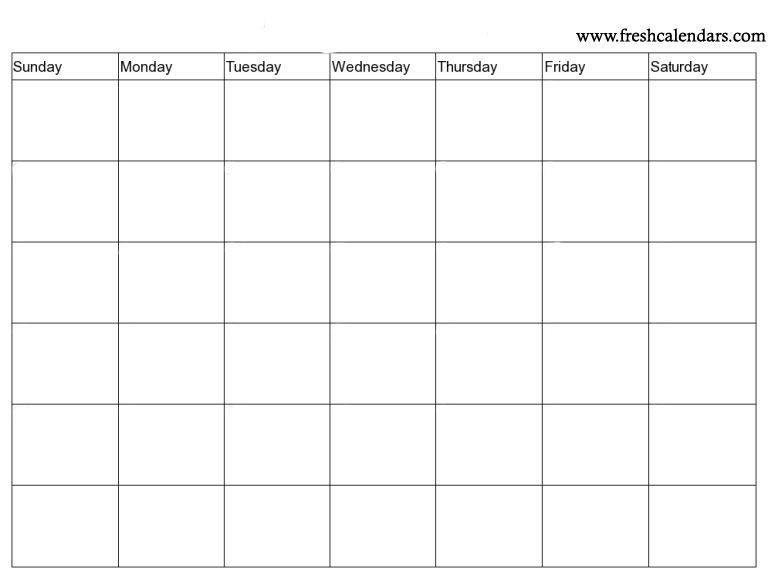 15+ Blank Calendar Printable Templates - 2019 Free Monthly Blank - Printable Blank Calendar