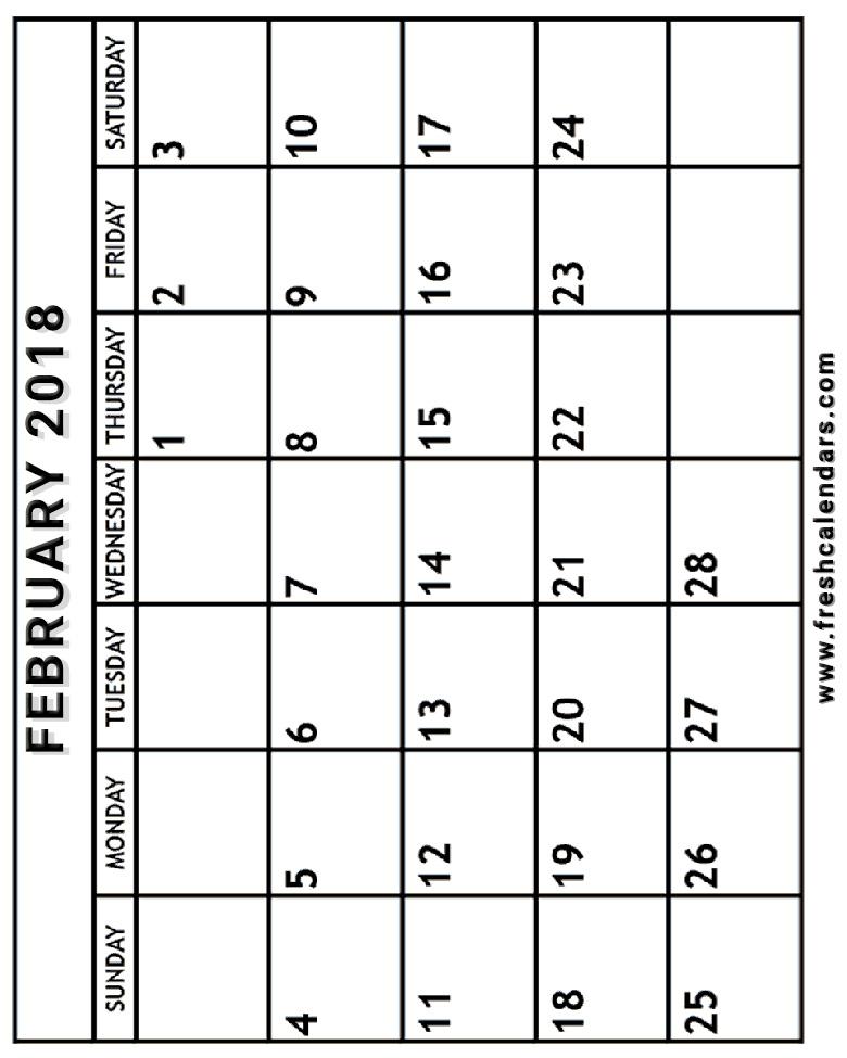 February 2018 Calendar Printable Templates