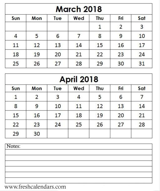 March 2018 Calendar Printable Templates