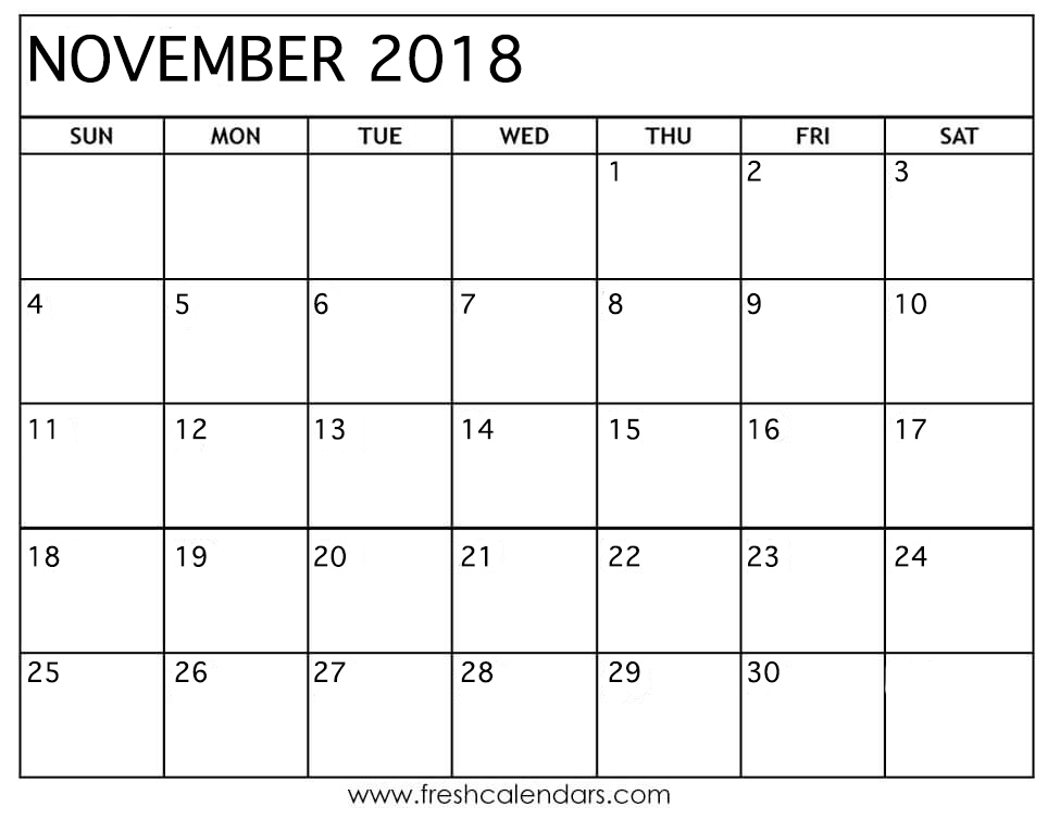 Blank November 2018 Calendar Printable Templates