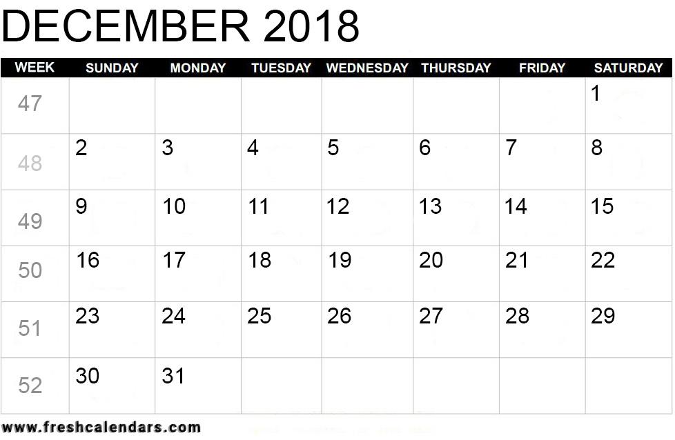Printable December 2018 Calendar - Fresh Calendars