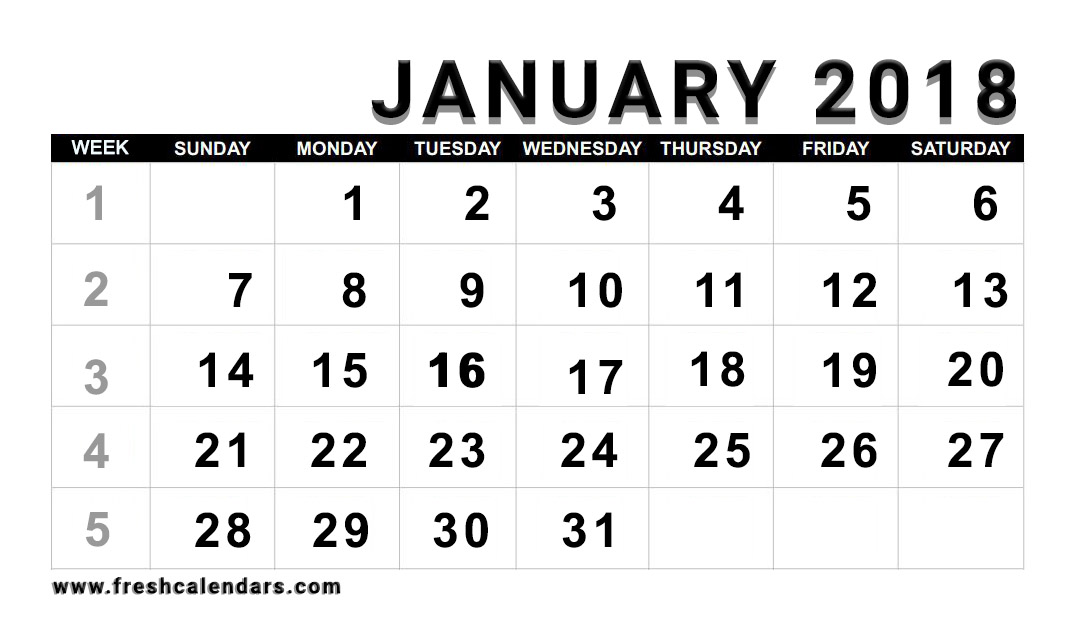 Printable January 2018 Calendar - Fresh Calendars