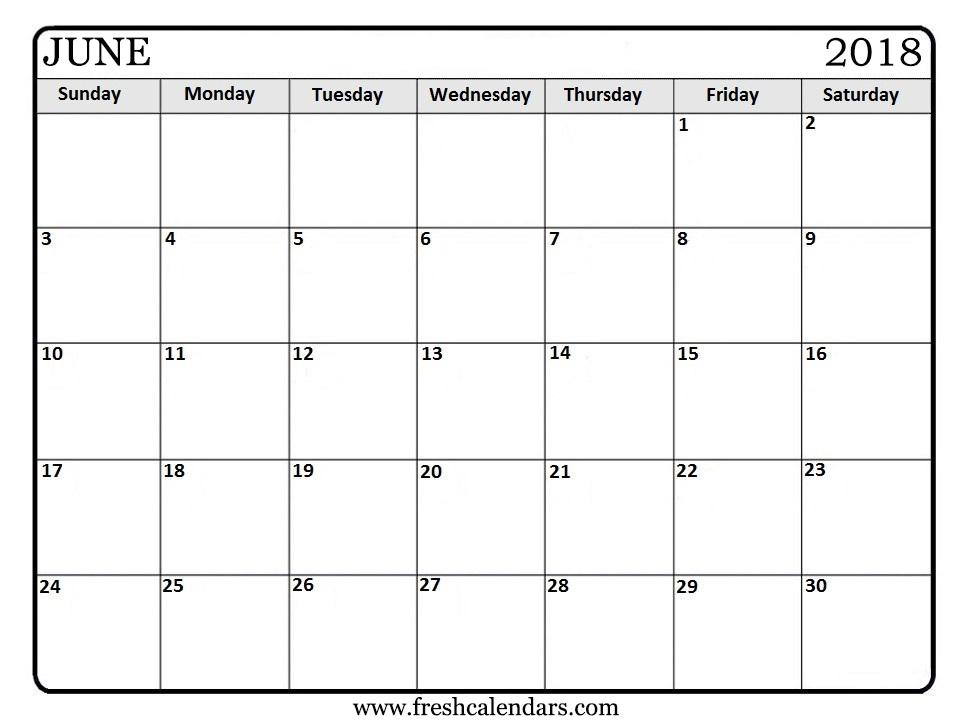 Printable June 2018 Calendar - Fresh Calendars