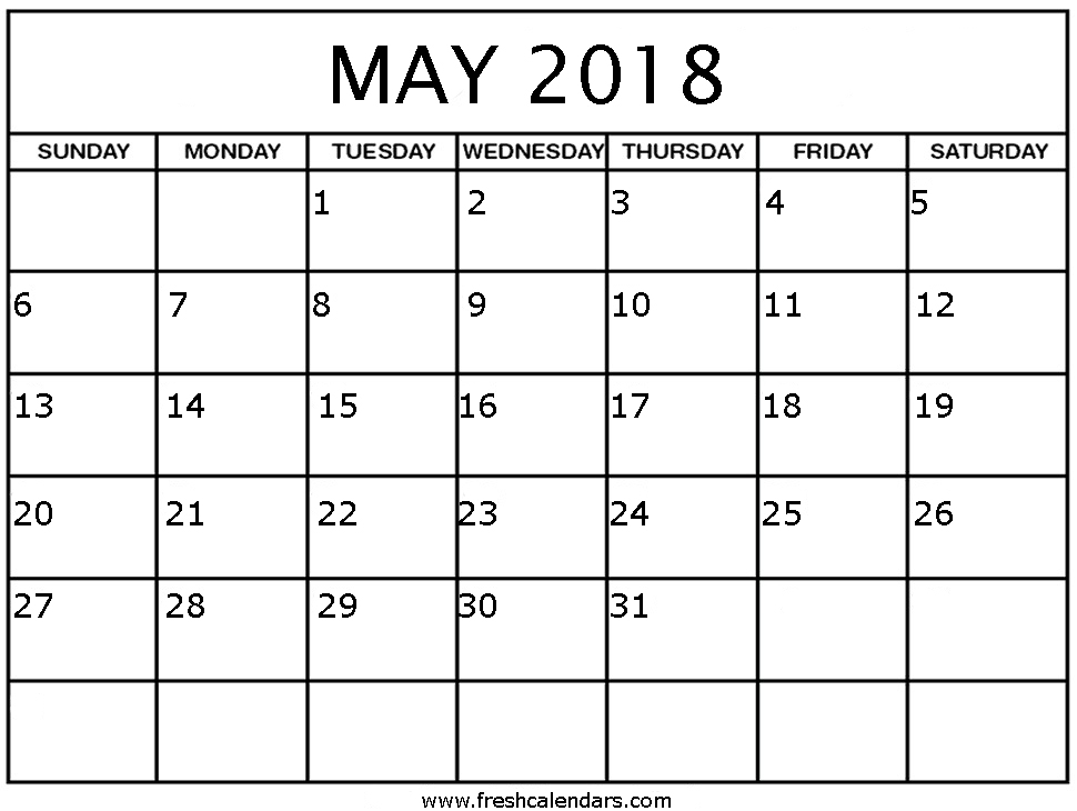 Printable May 2018 Calendar - Fresh Calendars