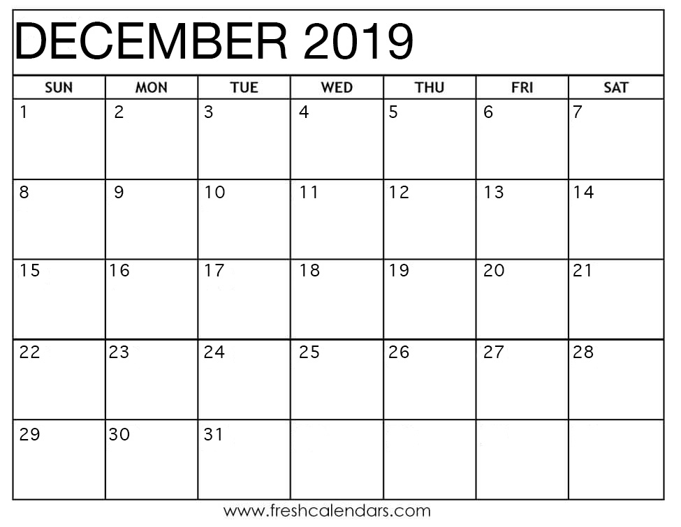 Printable December 2019 Calendar - Fresh Calendars