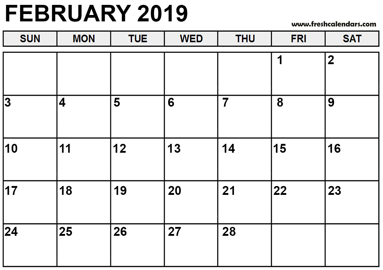 calendar for month of february 2019