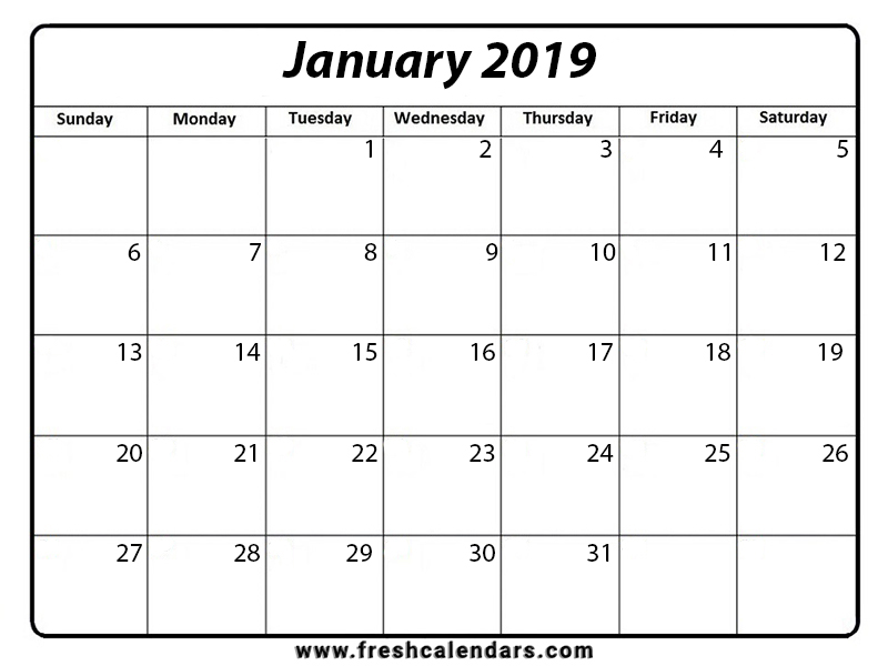 Printable January 2019 Calendar - Fresh Calendars