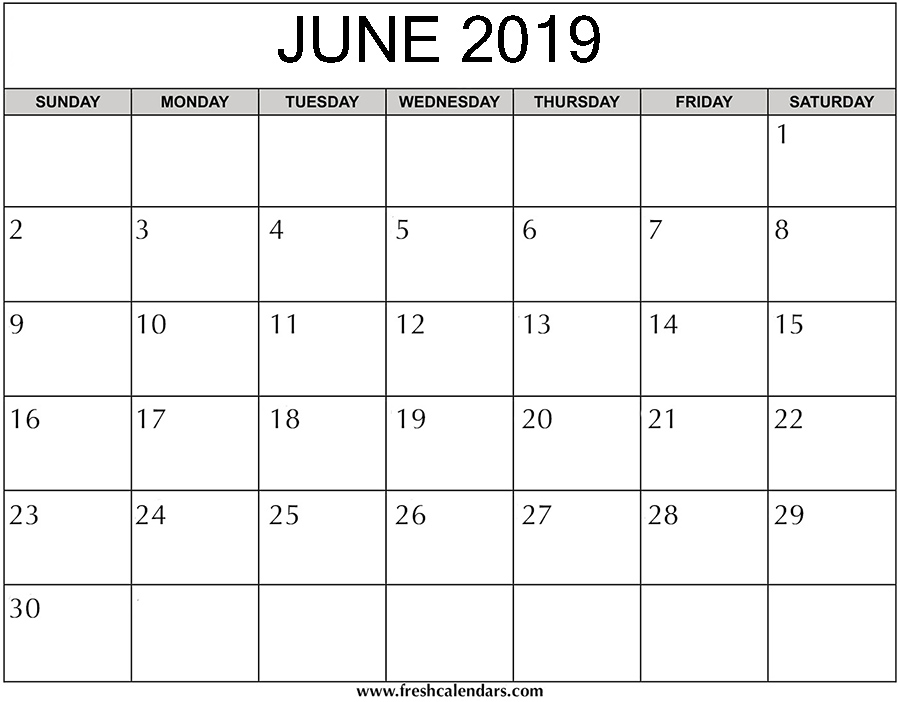 Printable June 2019 Calendar - Fresh Calendars