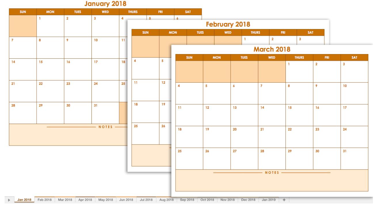 microsoft blank calendars
